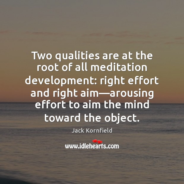 Image, Two qualities are at the root of all meditation development: right effort