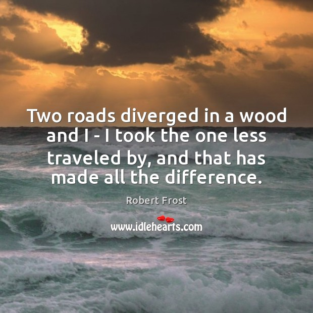 Image, Two roads diverged in a wood and I – I took the