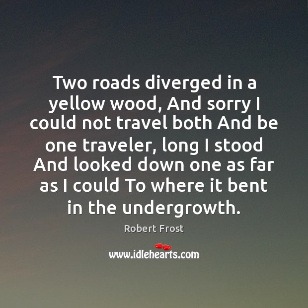 Two roads diverged in a yellow wood, And sorry I could not Robert Frost Picture Quote