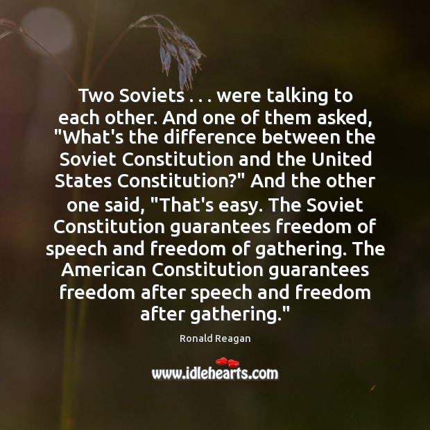 """Image, Two Soviets . . . were talking to each other. And one of them asked, """""""