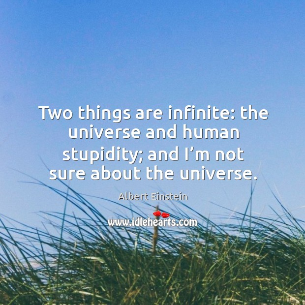 Image, Two things are infinite: the universe and human stupidity; and I'm not sure about the universe.