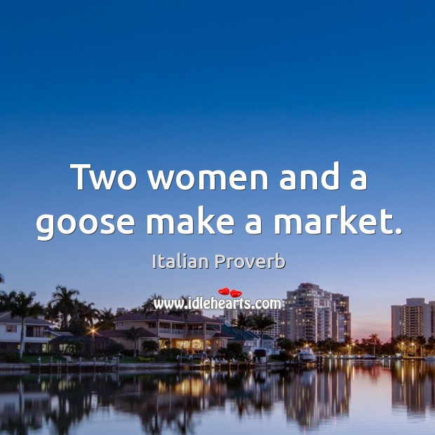 Image, Two women and a goose make a market.