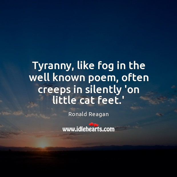 Tyranny, like fog in the well known poem, often creeps in silently 'on little cat feet.' Image