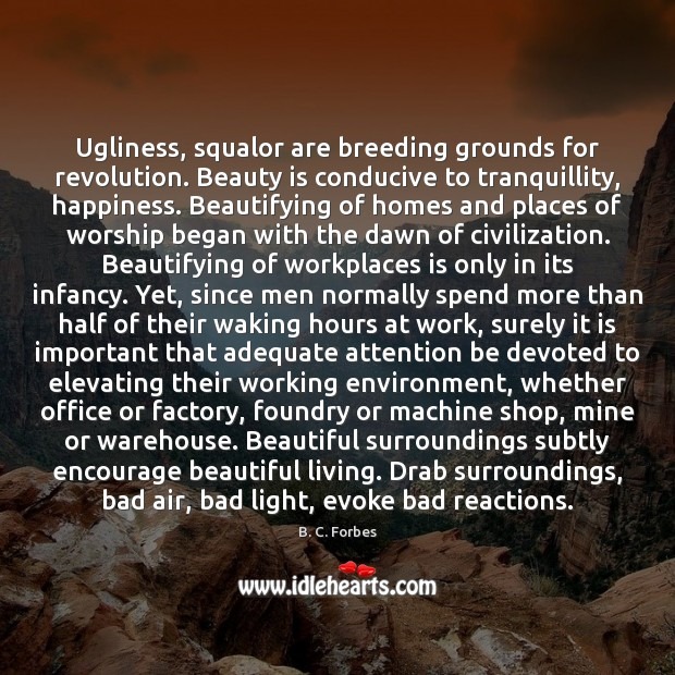 Ugliness, squalor are breeding grounds for revolution. Beauty is conducive to tranquillity, Image