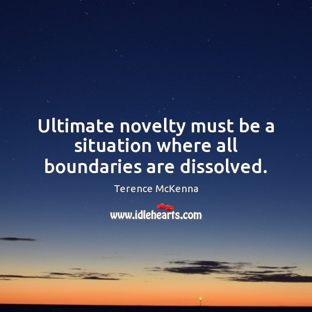 Ultimate novelty must be a situation where all boundaries are dissolved. Terence McKenna Picture Quote