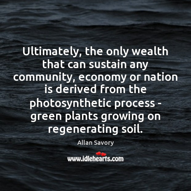 Image, Ultimately, the only wealth that can sustain any community, economy or nation