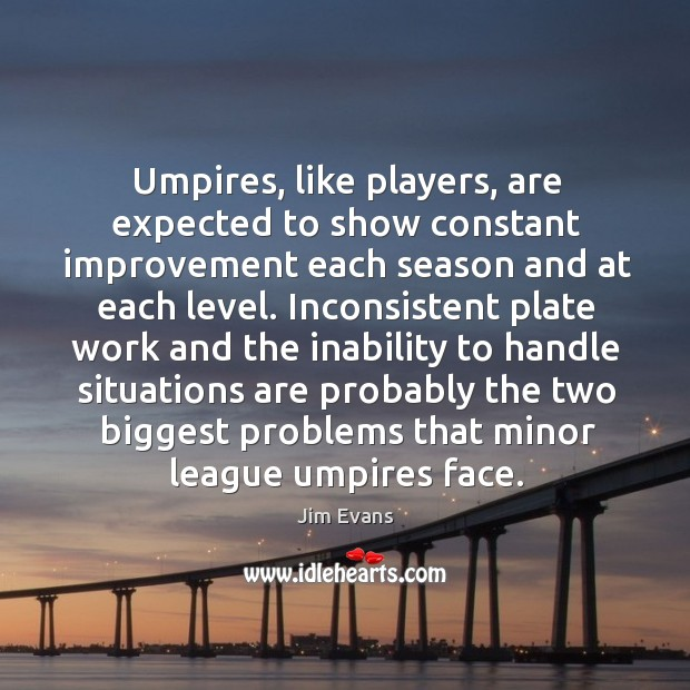 Umpires, like players, are expected to show constant improvement each season and at each level. Image