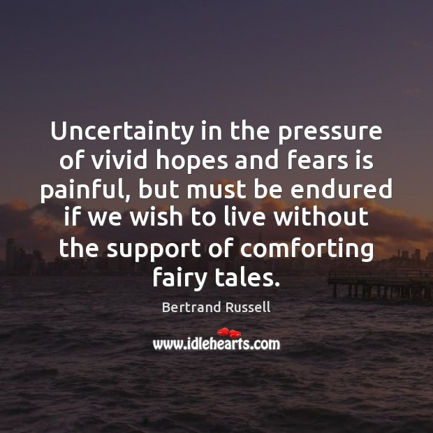 Uncertainty in the pressure of vivid hopes and fears is painful, but Image