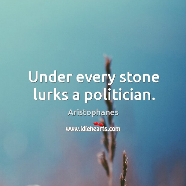Under every stone lurks a politician. Image