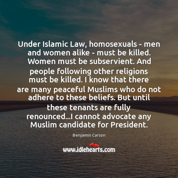Under Islamic Law, homosexuals – men and women alike – must be Image