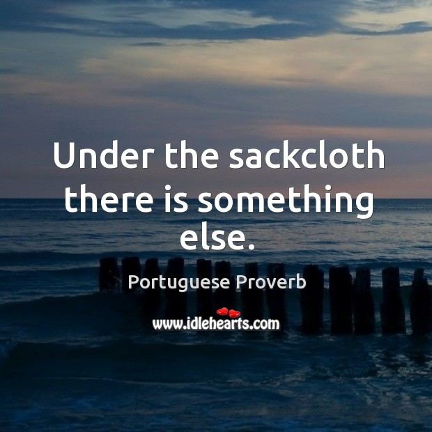 Under the sackcloth there is something else. Image