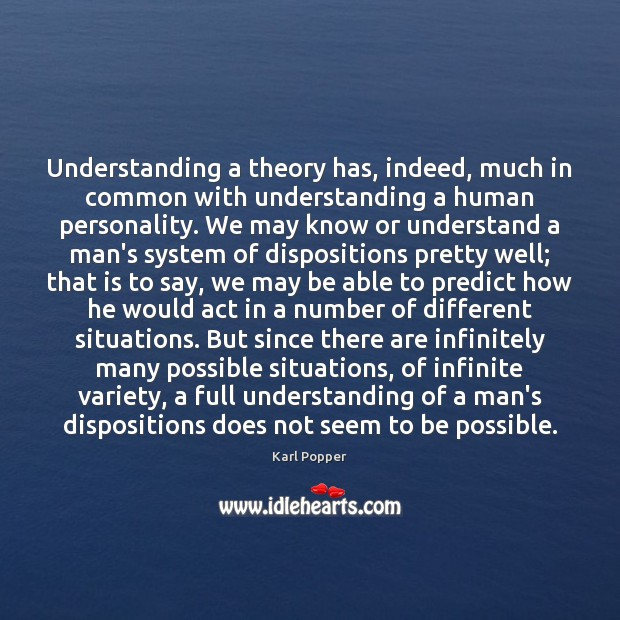 Understanding a theory has, indeed, much in common with understanding a human Image