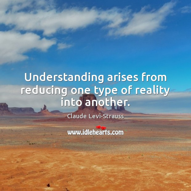 Image, Understanding arises from reducing one type of reality into another.