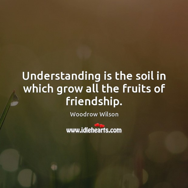 Image, Understanding is the soil in which grow all the fruits of friendship.