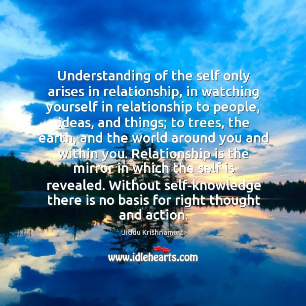 Understanding of the self only arises in relationship, in watching yourself in Image