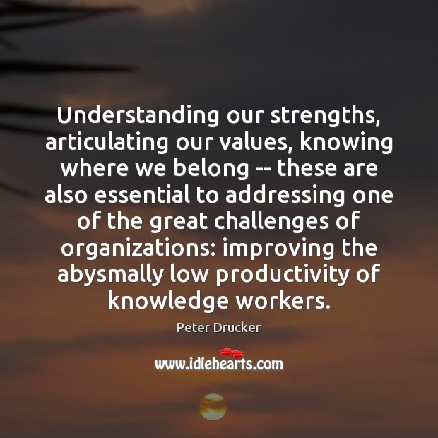 Image, Understanding our strengths, articulating our values, knowing where we belong — these