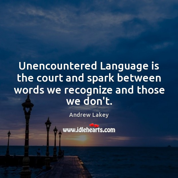 Image, Unencountered Language is the court and spark between words we recognize and
