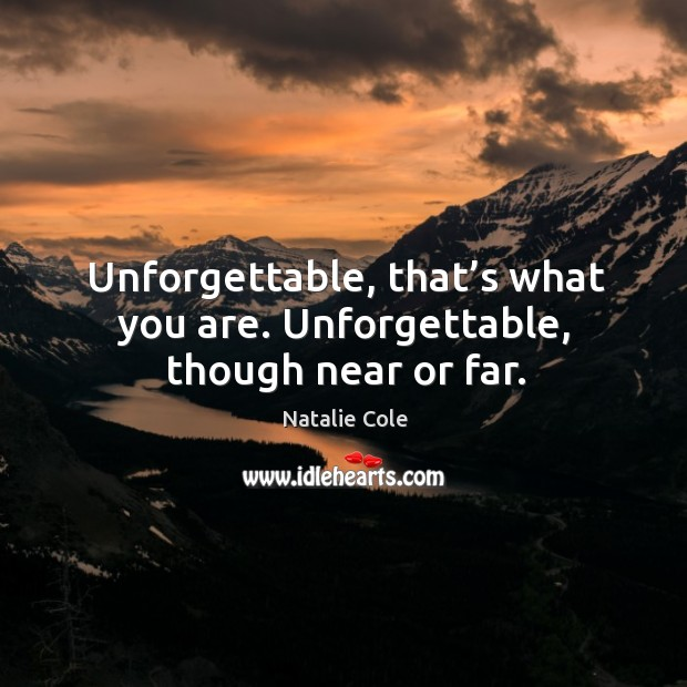 Image, Unforgettable, that's what you are. Unforgettable, though near or far.