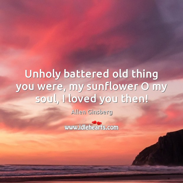 Image, Unholy battered old thing you were, my sunflower O my soul, I loved you then!