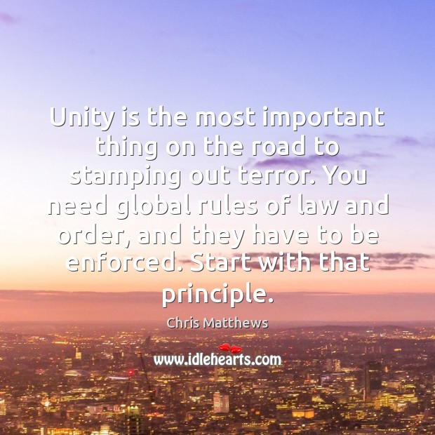 Image, Unity is the most important thing on the road to stamping out