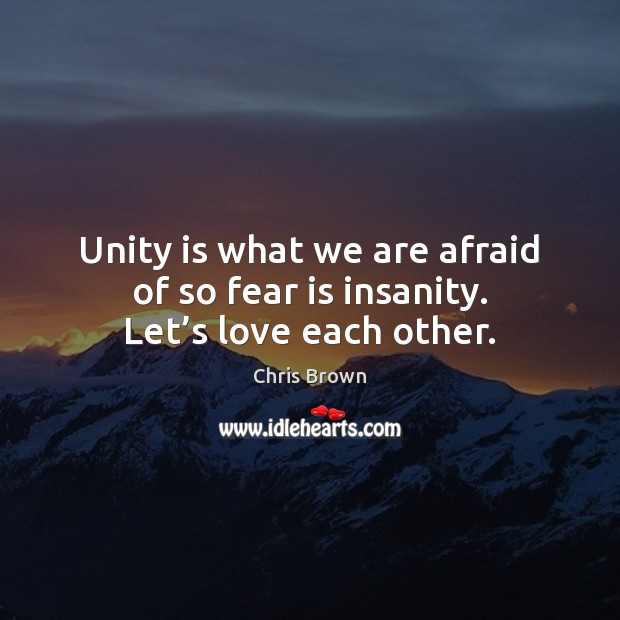 Unity is what we are afraid of so fear is insanity. Let's love each other. Chris Brown Picture Quote