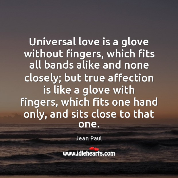 Universal love is a glove without fingers, which fits all bands alike Image