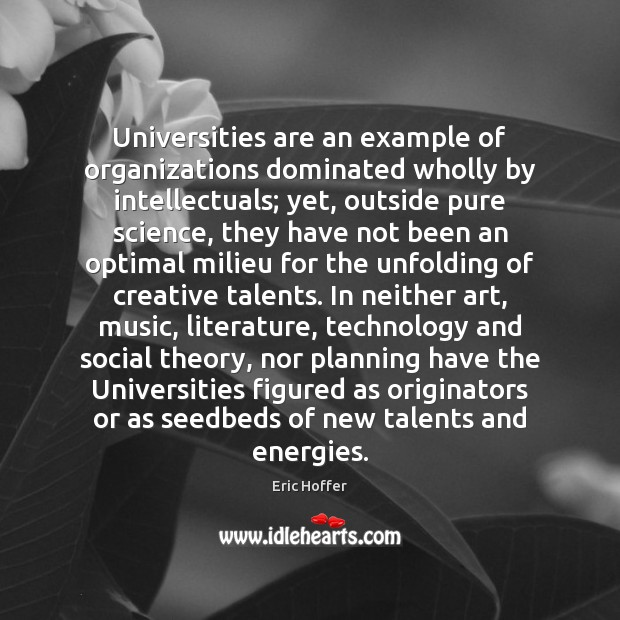 Universities are an example of organizations dominated wholly by intellectuals; yet, outside Eric Hoffer Picture Quote