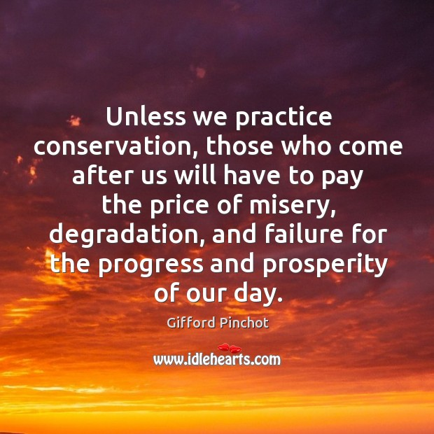 Unless we practice conservation, those who come after us will have to pay the price Gifford Pinchot Picture Quote