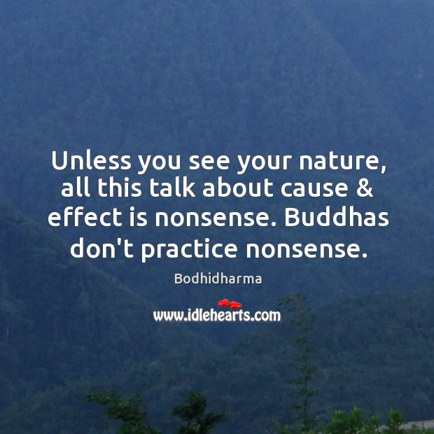Unless you see your nature, all this talk about cause & effect is Bodhidharma Picture Quote