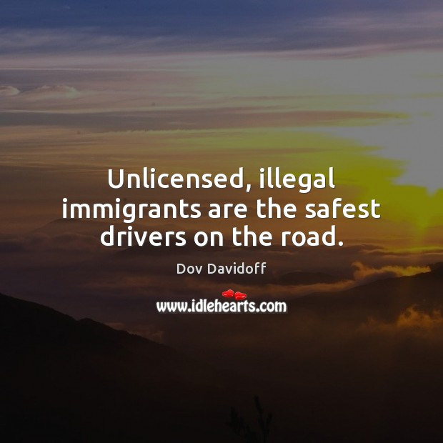 Dov Davidoff Picture Quote image saying: Unlicensed, illegal immigrants are the safest drivers on the road.