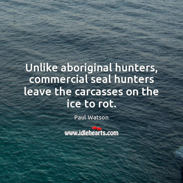 Unlike aboriginal hunters, commercial seal hunters leave the carcasses on the ice to rot. Paul Watson Picture Quote
