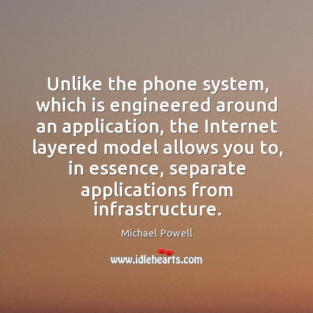 Unlike the phone system, which is engineered around an application, the internet layered model Image