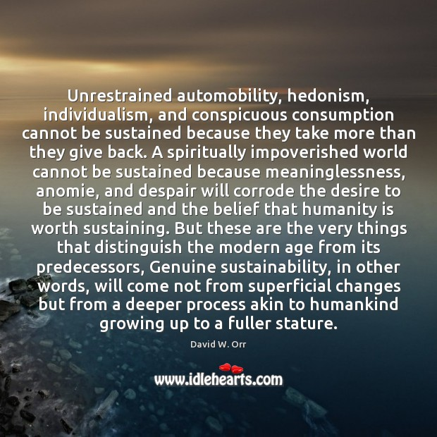 Image, Unrestrained automobility, hedonism, individualism, and conspicuous consumption cannot be sustained because they