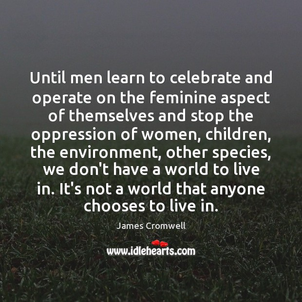 Until men learn to celebrate and operate on the feminine aspect of Image