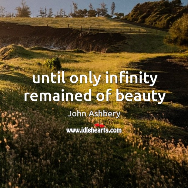 Until only infinity remained of beauty John Ashbery Picture Quote