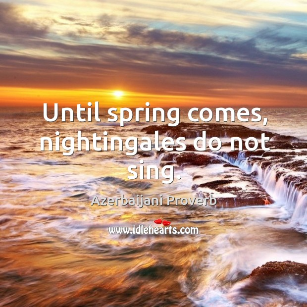 Until spring comes, nightingales do not sing. Azerbaijani Proverbs Image