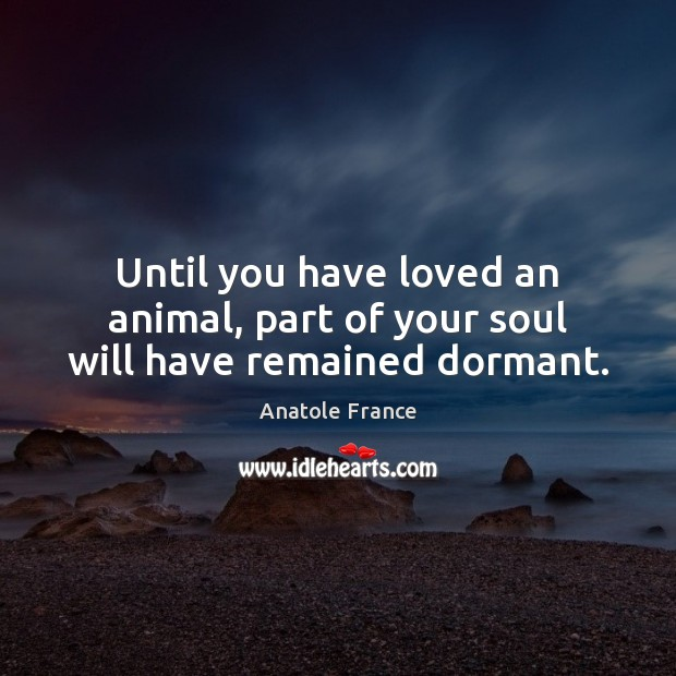 Until you have loved an animal, part of your soul will have remained dormant. Anatole France Picture Quote