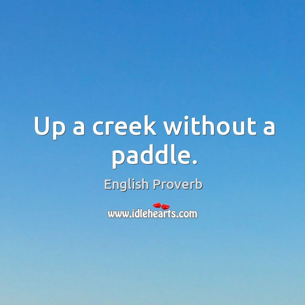 Image, Up a creek without a paddle.