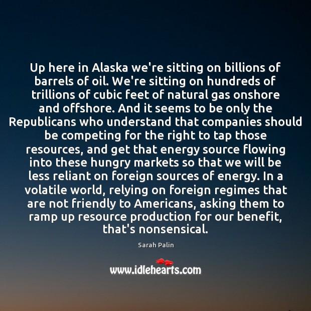 Up here in Alaska we're sitting on billions of barrels of oil. Image