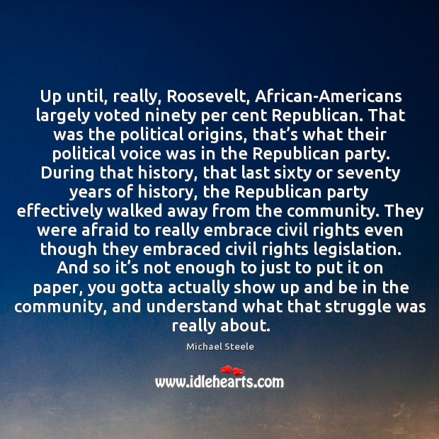 Up until, really, roosevelt, african-americans largely voted ninety per cent republican. Image