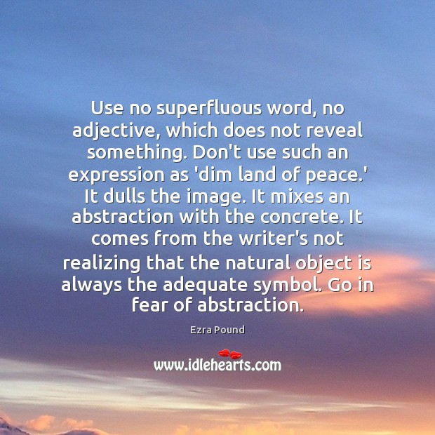 Use no superfluous word, no adjective, which does not reveal something. Don't Ezra Pound Picture Quote