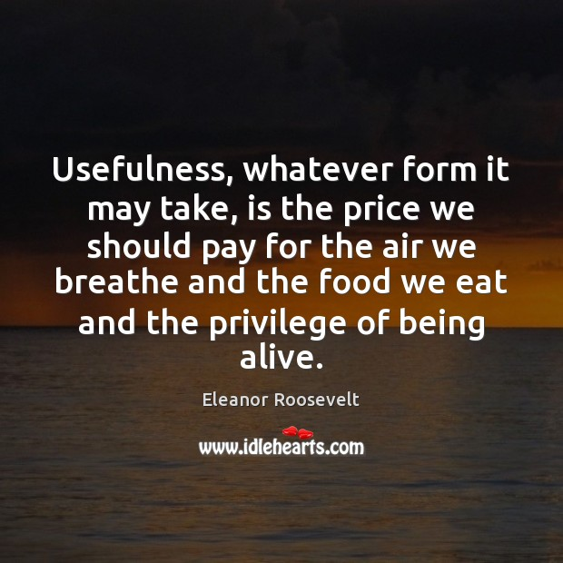 Usefulness, whatever form it may take, is the price we should pay Eleanor Roosevelt Picture Quote