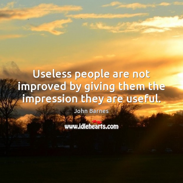 Useless people are not improved by giving them the impression they are useful. John Barnes Picture Quote