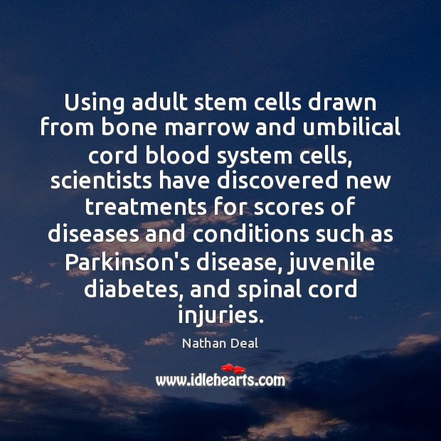 Image, Using adult stem cells drawn from bone marrow and umbilical cord blood