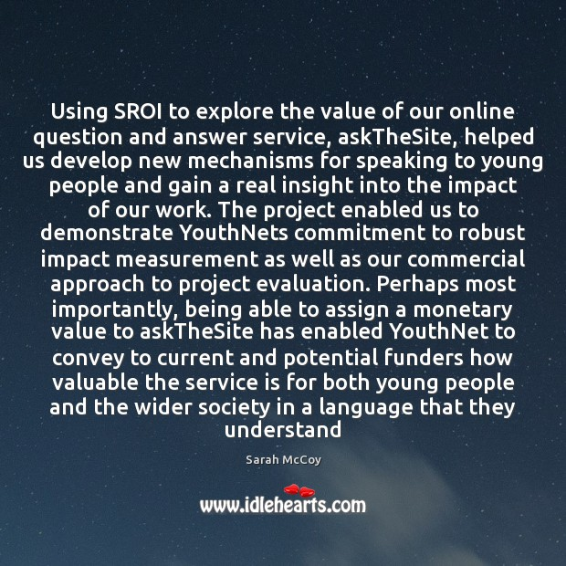 Image, Using SROI to explore the value of our online question and answer