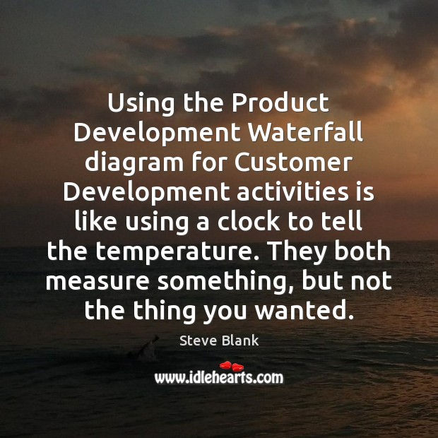 Using the Product Development Waterfall diagram for Customer Development activities is like Image