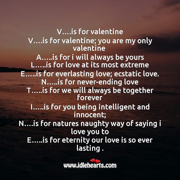 V is for valentine Valentine's Day Messages Image