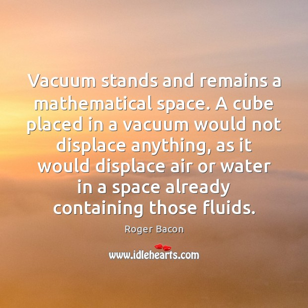 Vacuum stands and remains a mathematical space. A cube placed in a Image