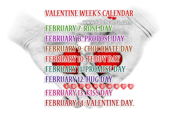 Valentine Week Calendar