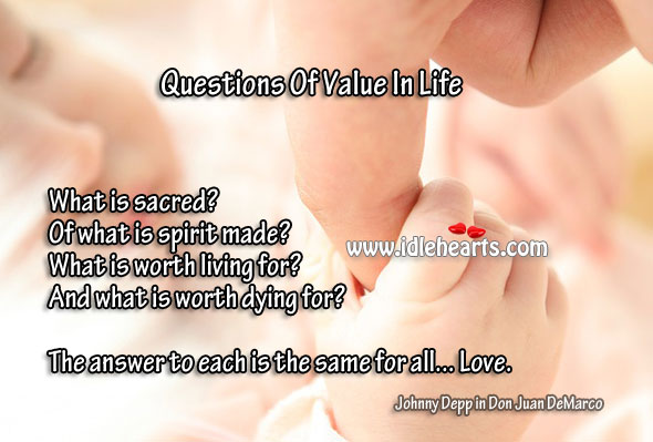 Four questions of value in life Worth Quotes Image
